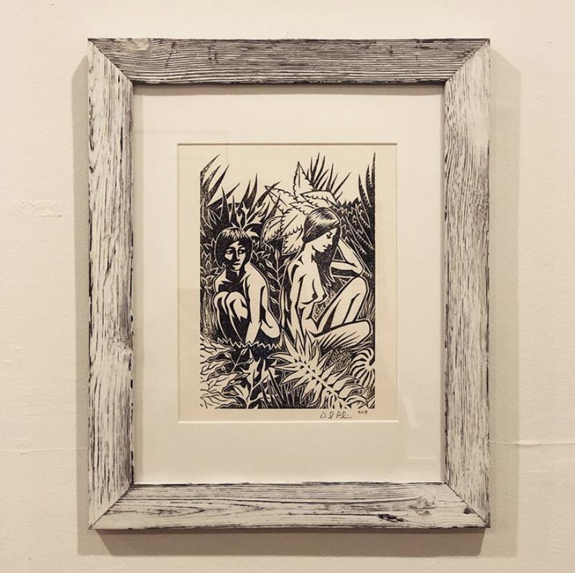 "Untitled (Jungle).  Linocut. 2013. 6x9"""