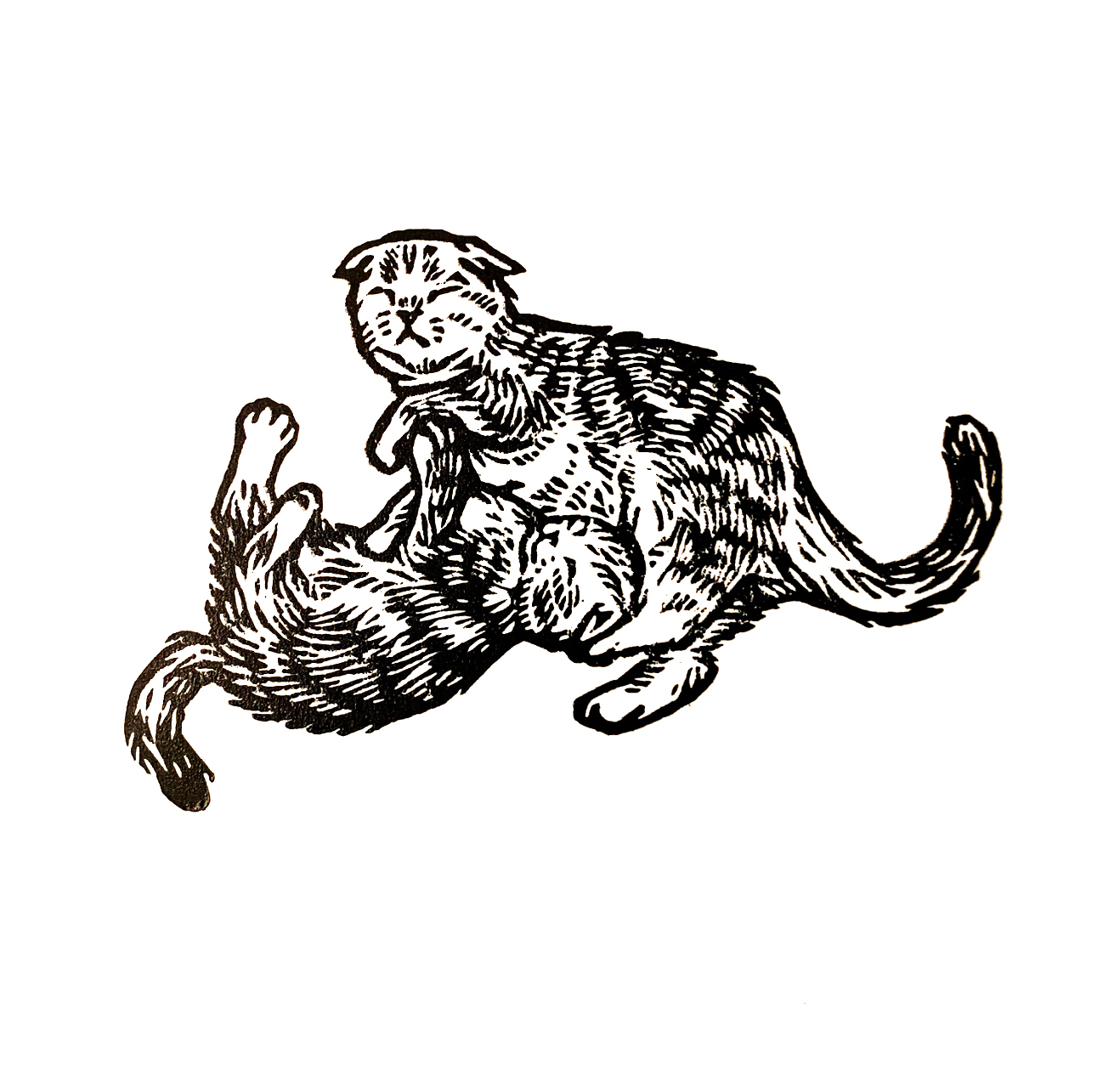 "Kittens . Linocut. 2019. 3x4"""