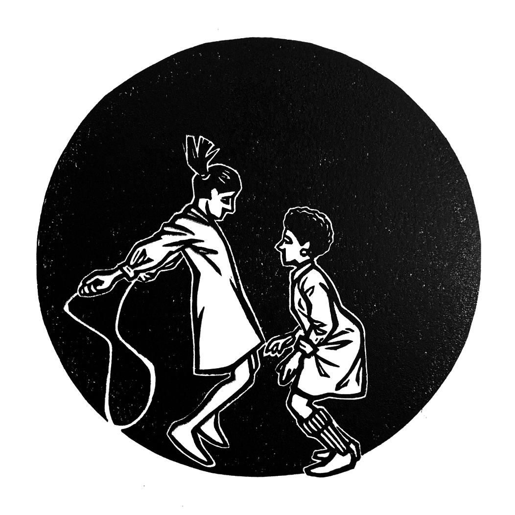 Jump Around. Linocut. 2019. 6x6.jpg