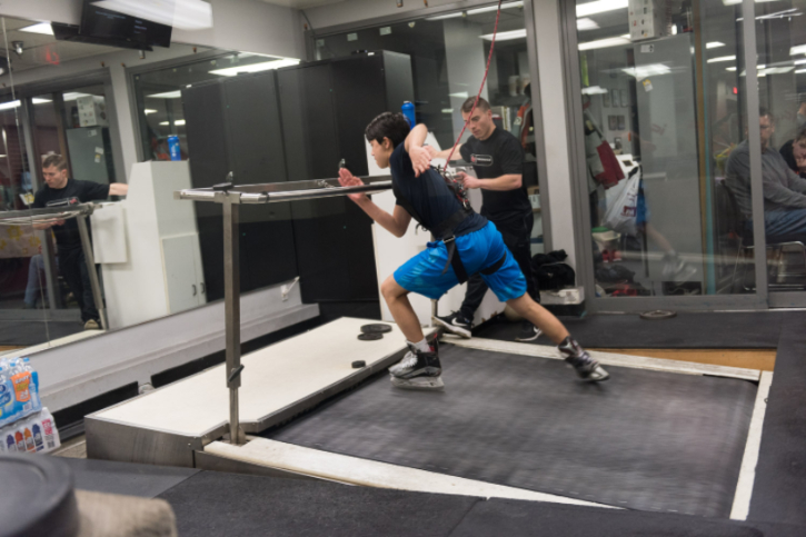 SKATING TREADMILL   Skating technique is the single greatest factor that affects a player's speed, endurance and effectiveness on the ice. Our skating treadmill, assessments and programs will help you take your game to the next level.