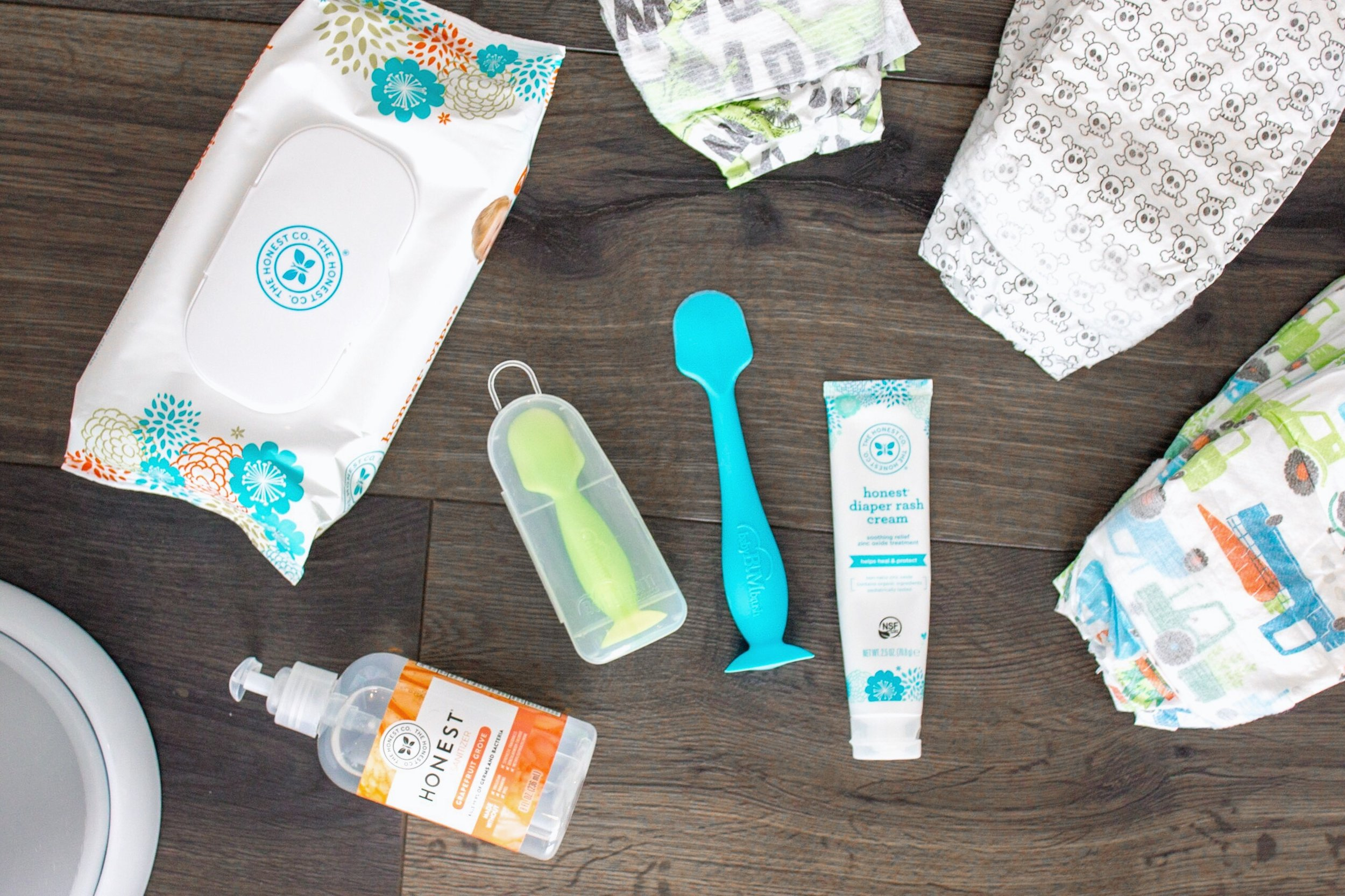 Ubbi Diaper Pail // BabyBum Diaper Cream Brush // Honest Wipes