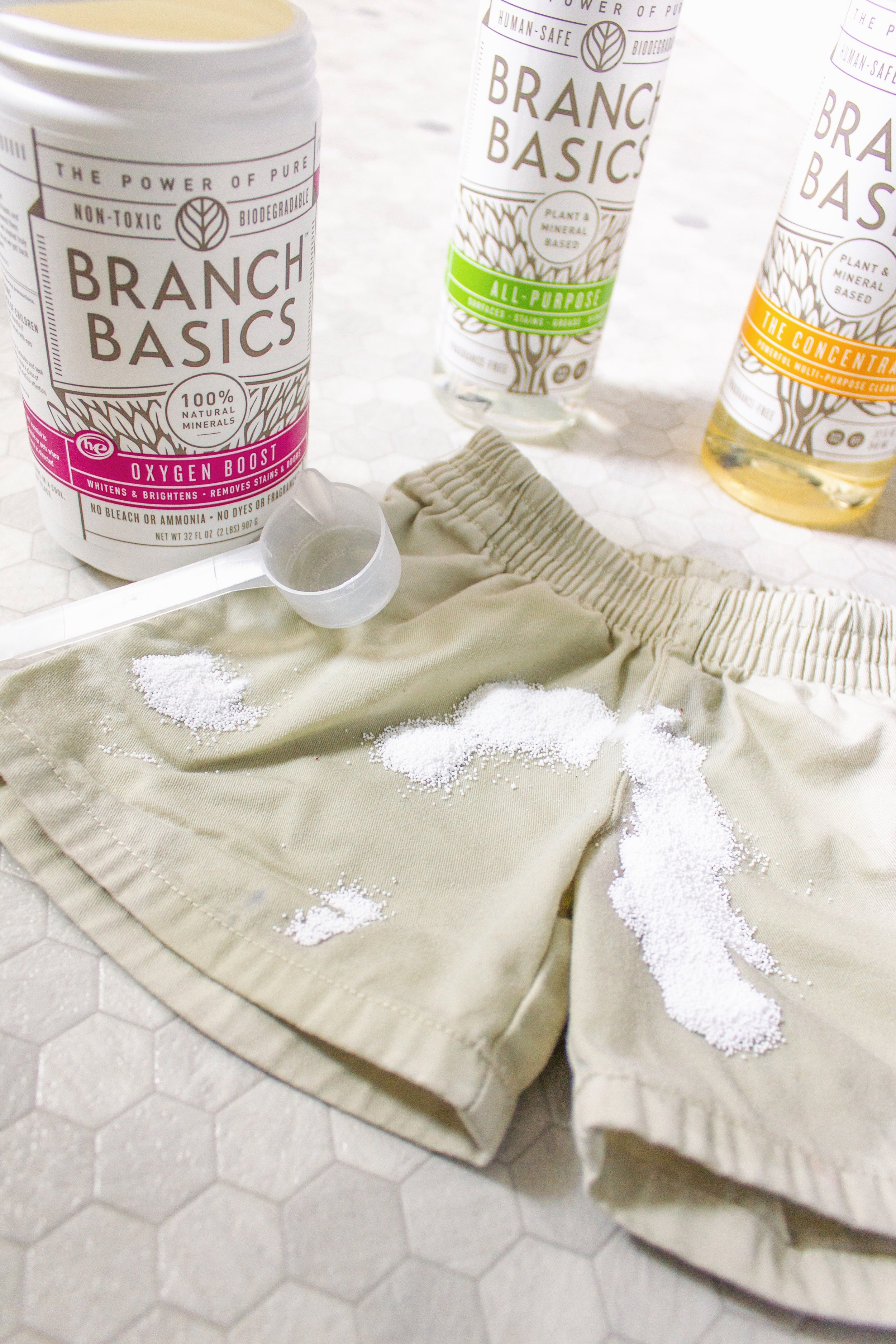 STEP TWO: Scoop Branch Basics Oxygen Boost - Scoop Branch Basics Oxygen Boost over the stain, making sure to cover the entire stain.