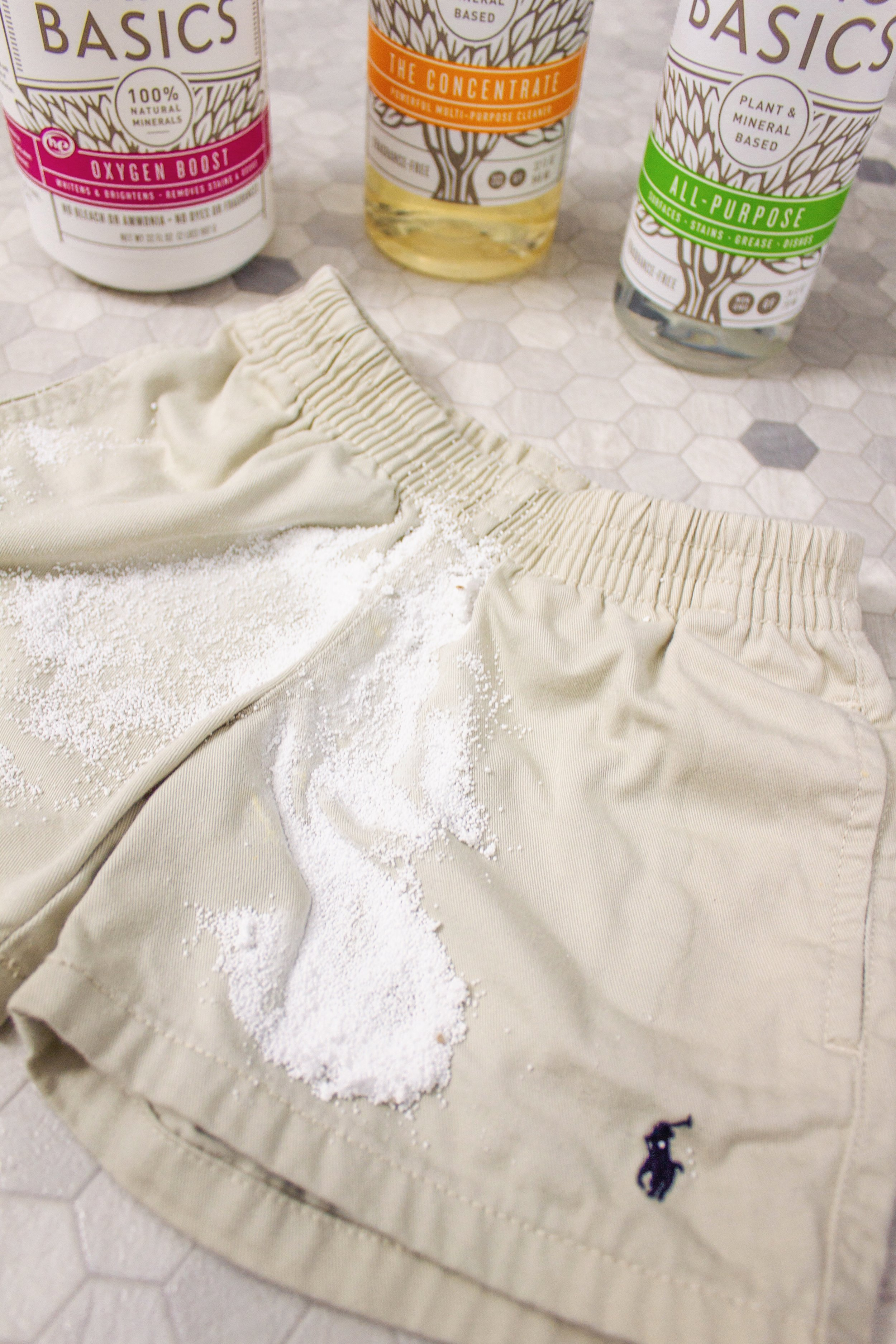 STEP FIVE: Brush off + throw in the wash - Brush off the Oxygen Boost to make sure the stain is fully gone + throw in the wash!