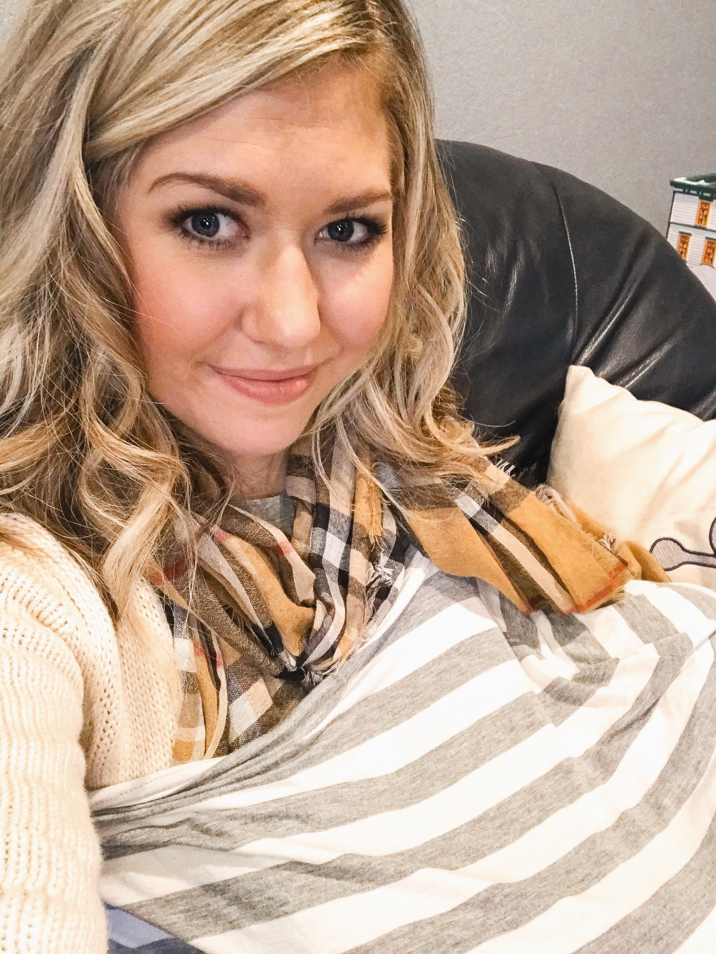 Taking a break from some Christmastime family fun to nurse my baby, a nursing cover always comes in handy for an easily distracted babe or curious kiddos.