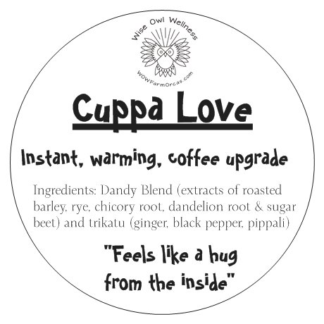 - A nourishing and naturally stimulating blend of healing herbs to warm you from the inside out. Cuppa Love is a healthy replacement for your cuppa joe without the caffeine and acidity. Trikatu, the three pungents, is a classic Ayurvedic spice blend which kindles the digestive fire.