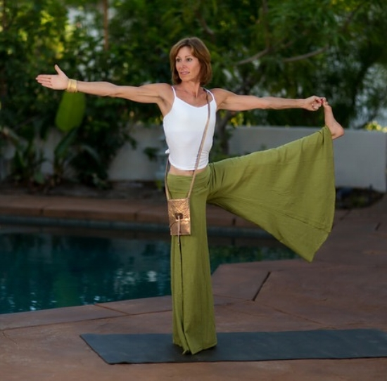 Rancho Mirage Yoga Teacher wearing a V&G custom bag during a fashion shoot.