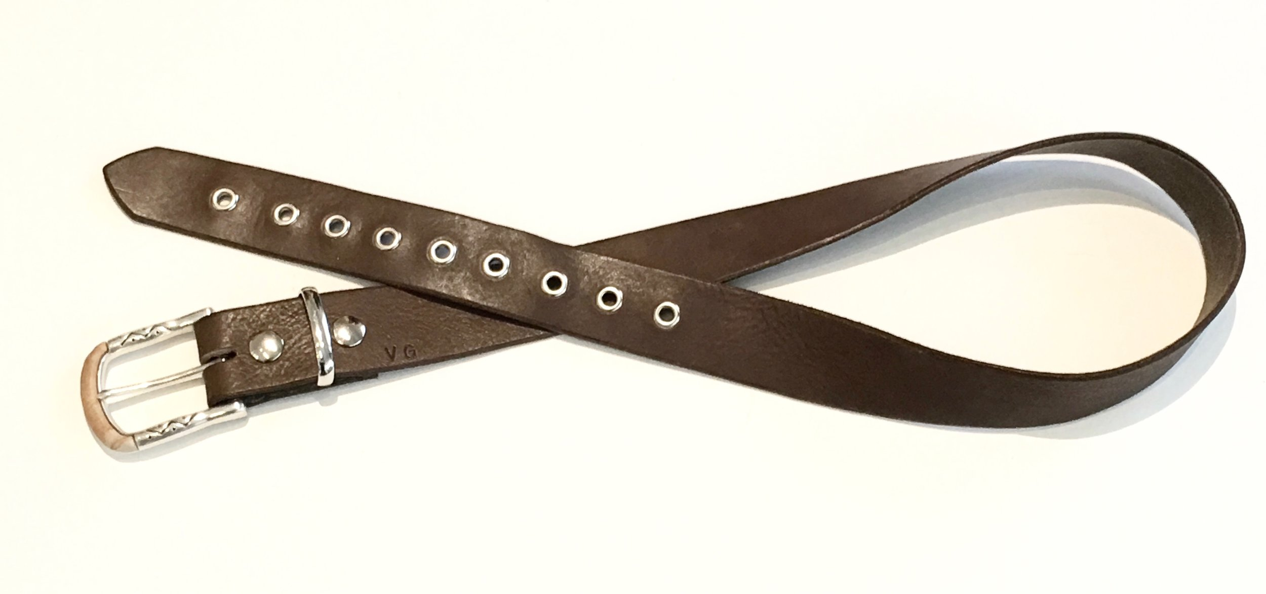 Brown Leather Belt with polished nicklel and Mojave style buckle. $148..jpg