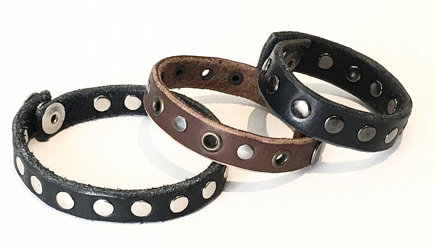 Leather Cuff 12 wide. Black or Brown leather with assorted metal detail. $32..jpg