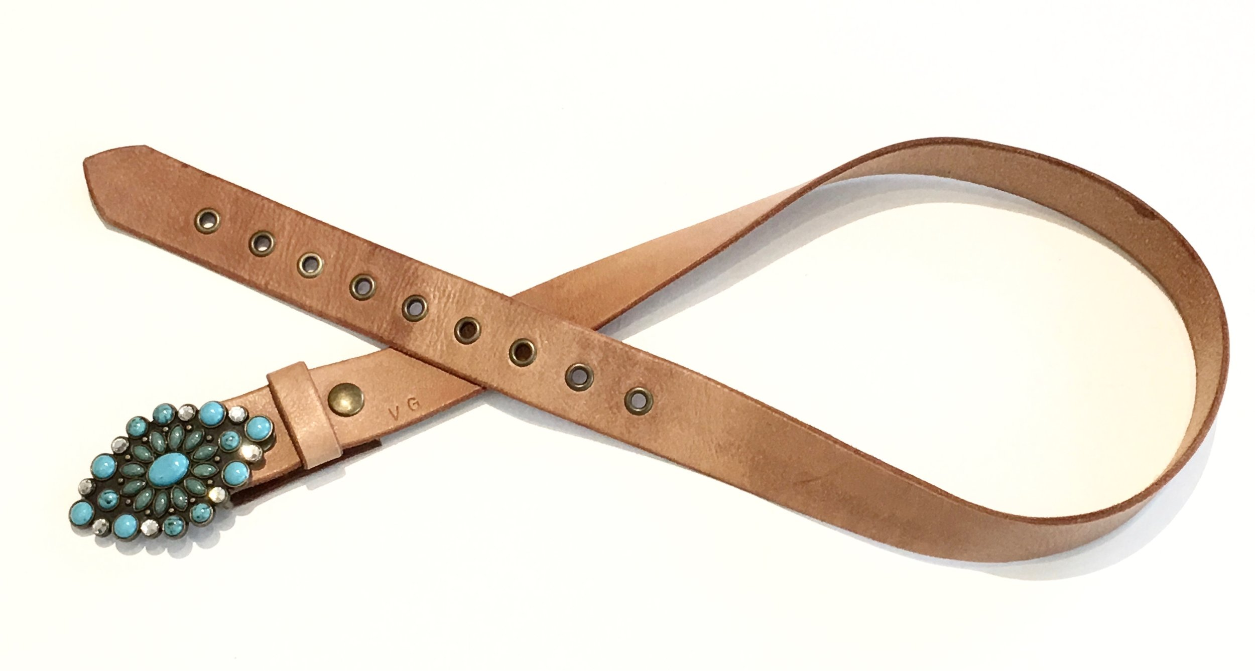 Natural Leather Belt with antique metal work and faux turqoise and crystal buckle. $178..jpg