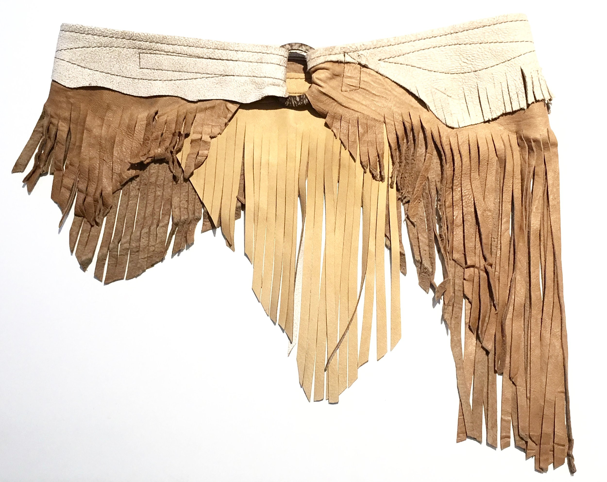Antique beige crackle and tan leather with layered fringe.  Coconut shell and adjustable velcro closure.  $348. .jpg