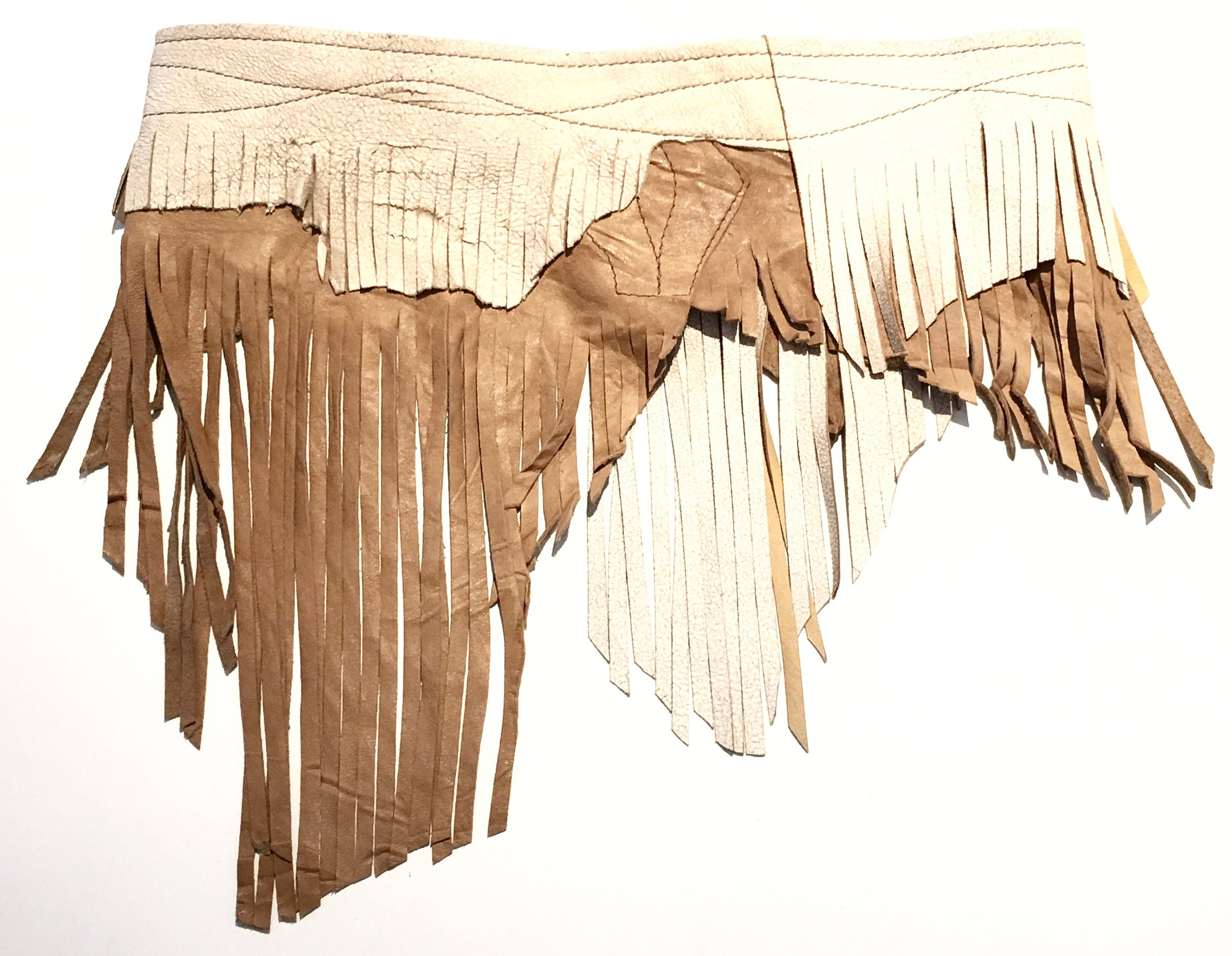 Antique beige crackle and tan leather with layered fringe.  Coconut shell and adjustable velcro closure. Back view.jpg