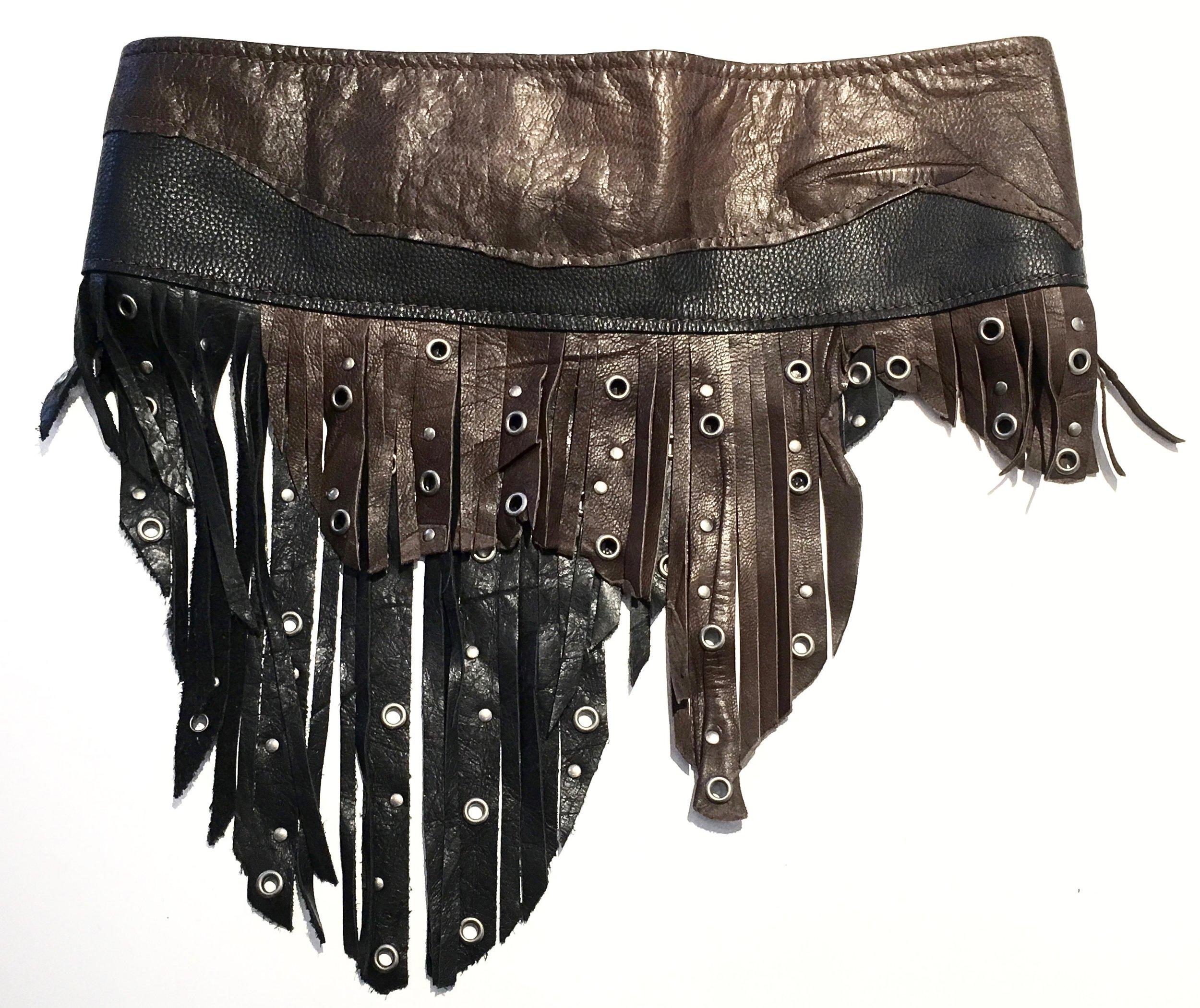Black and brown cowhide with layered fringe and antiqued nickel metal work. Back view.jpg