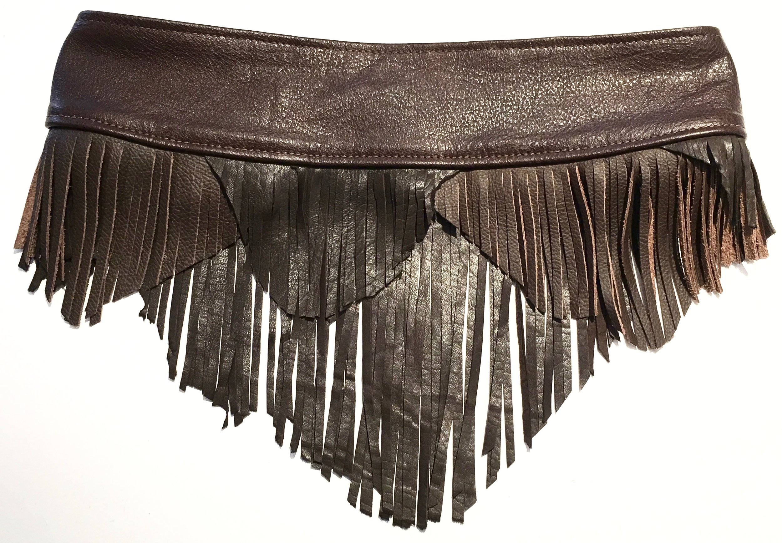 Shades of brown cowhide and lambskin with layered fringe.  Brass ring with adjustable velcro closure. Back view..jpg
