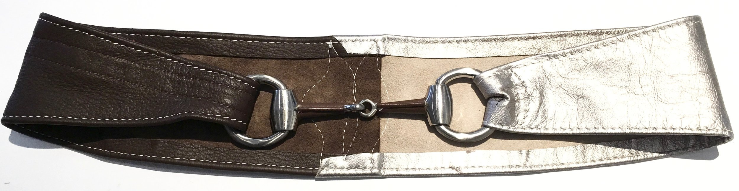 Brown deerskin and silver metallic lambkin HipWear.  One of a kind horse bit design and adjustable velcro closure. $278. (1).jpg