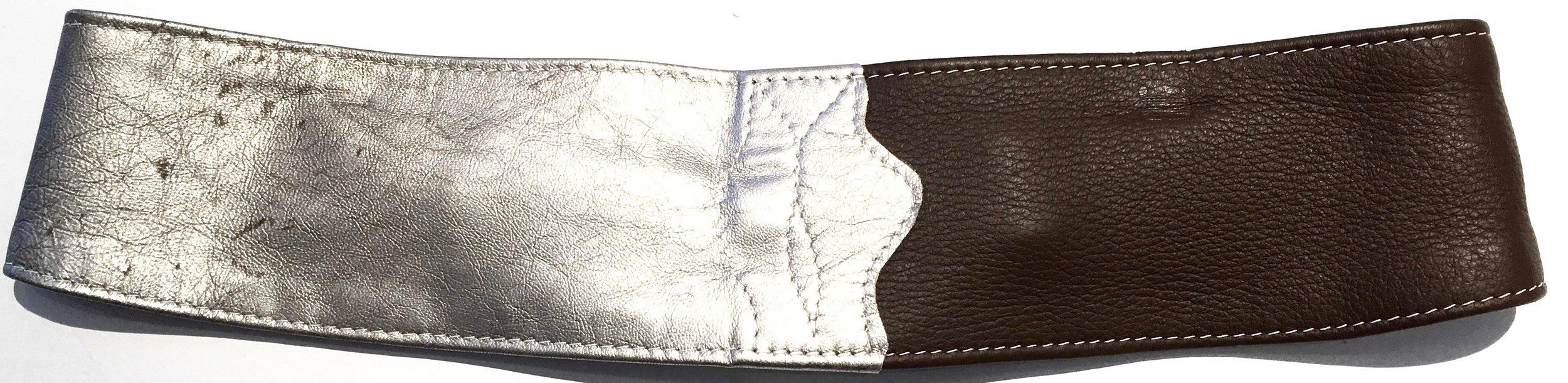 Brown deerskin and silver metallic lambkin HipWear.  One of a kind horse bit design and adjustable velcro closure. Back view..jpg