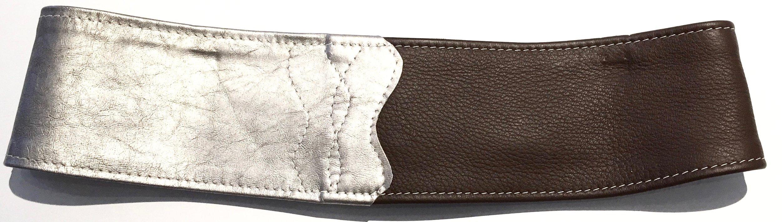 Brown deerskin and silver metallic lambkin HipWear.  Polished nickel D ring and adjustable velcro closure. Back view..jpg