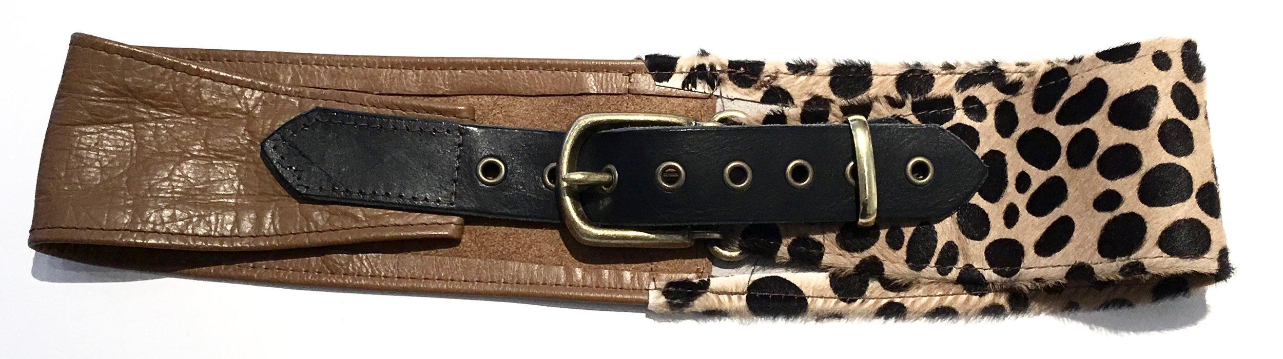 Camel colored cowhide and hair on hide cheetah print HipWear. Adjustable belt closure. $248..jpg