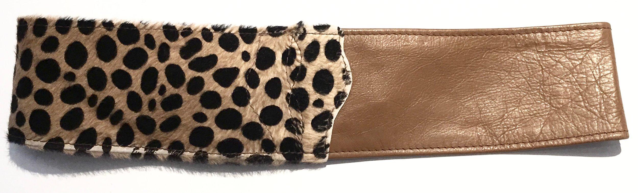 Camel colored cowhide and hair on hide cheetah print HipWear. Adjustable belt closure. Back view..jpg