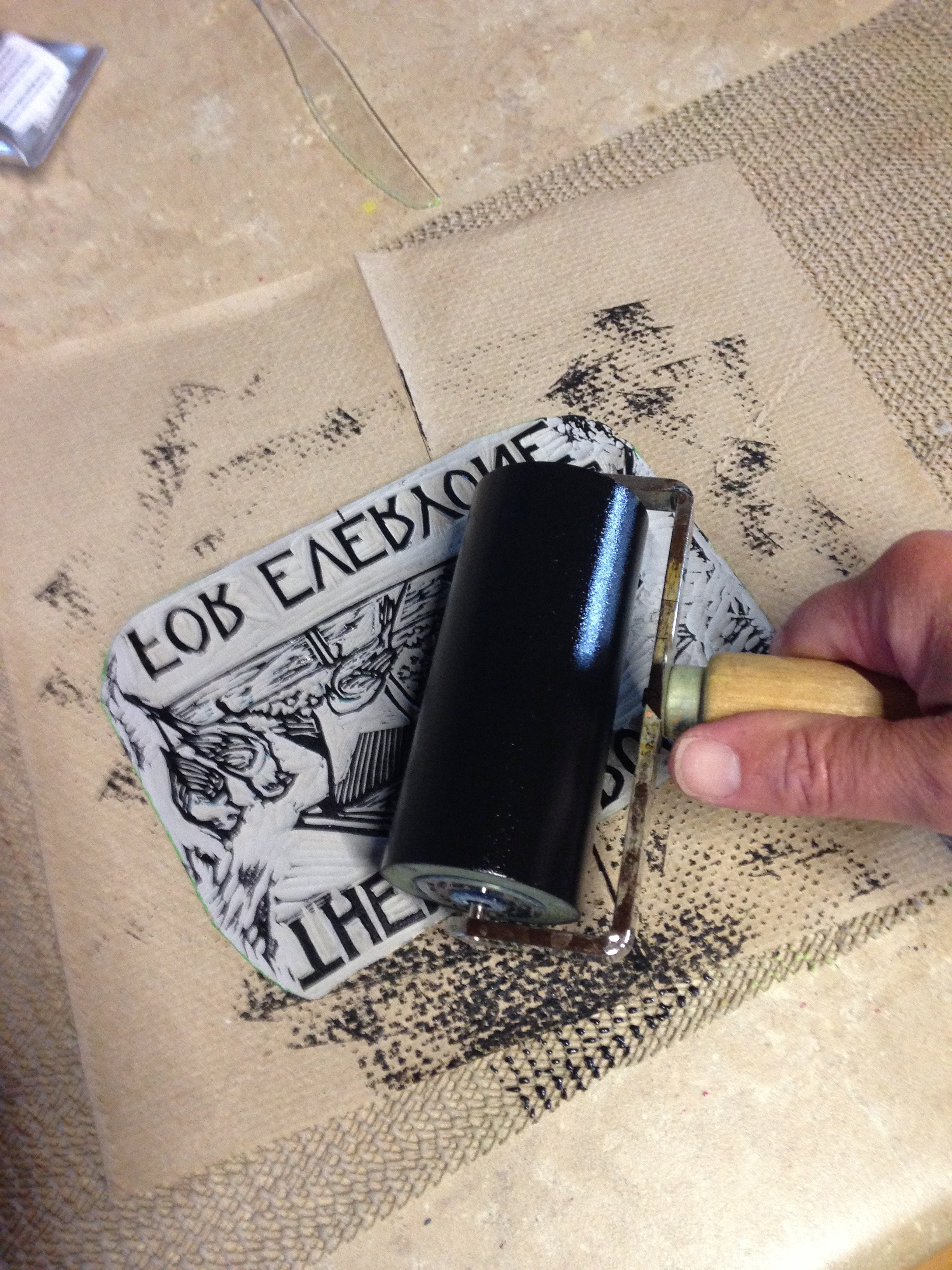 each print is done completely by hand, from inking to pressing the plate.