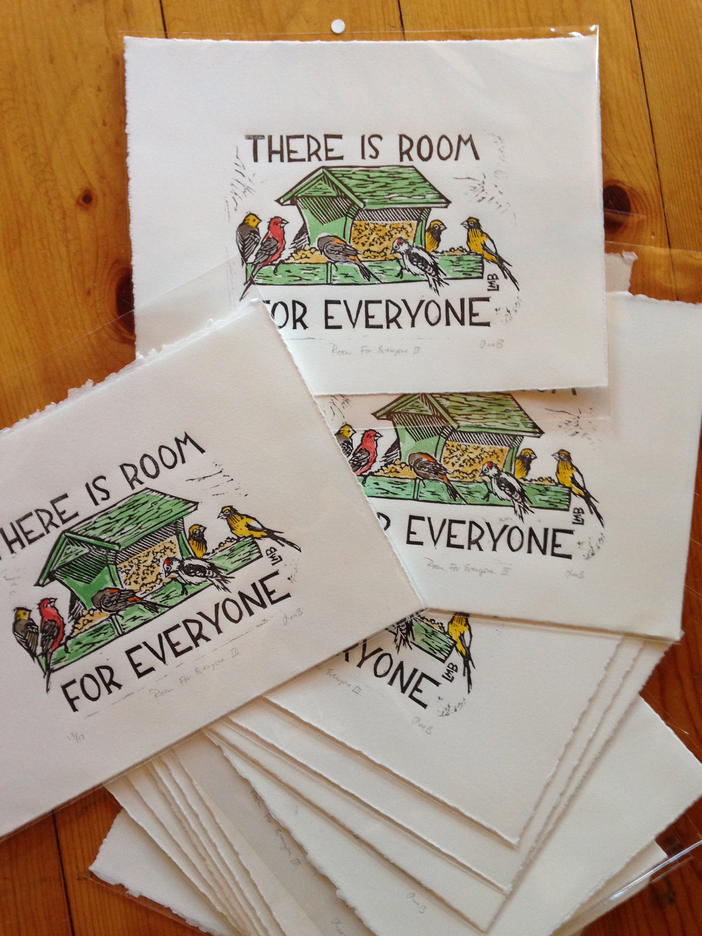 "I've also created a very limited edition of hand watercolored ""Room For Everyone"" prints for $35 each, with all proceeds being donated to the same four organizations as the black and white version."