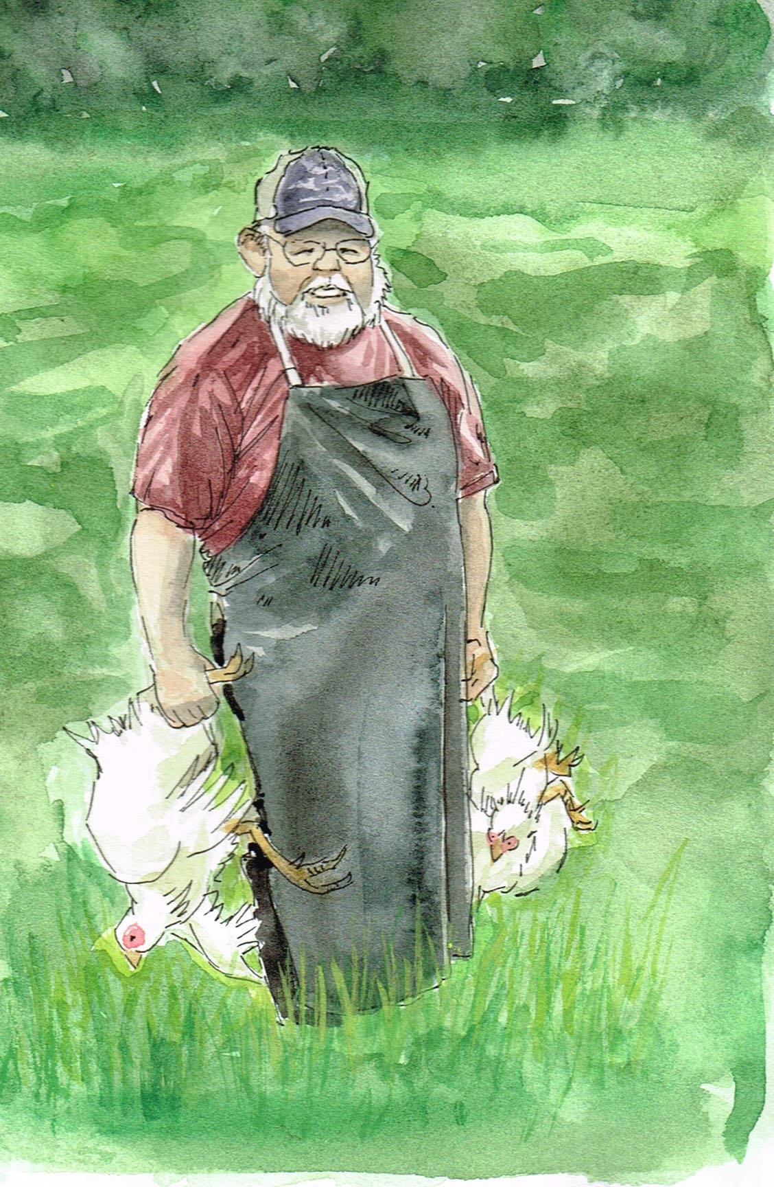 """Monty on the job, watercolor and ink on scrap paper, about 5""""x3.5""""."""