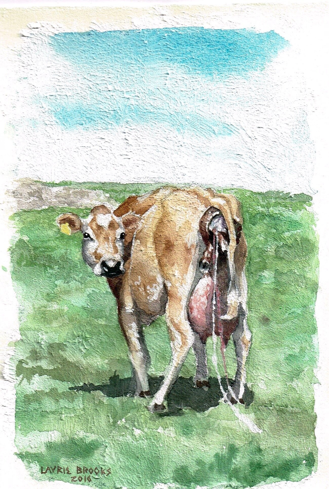 """birthday, watercolor on primed paper, about 4""""x5""""."""