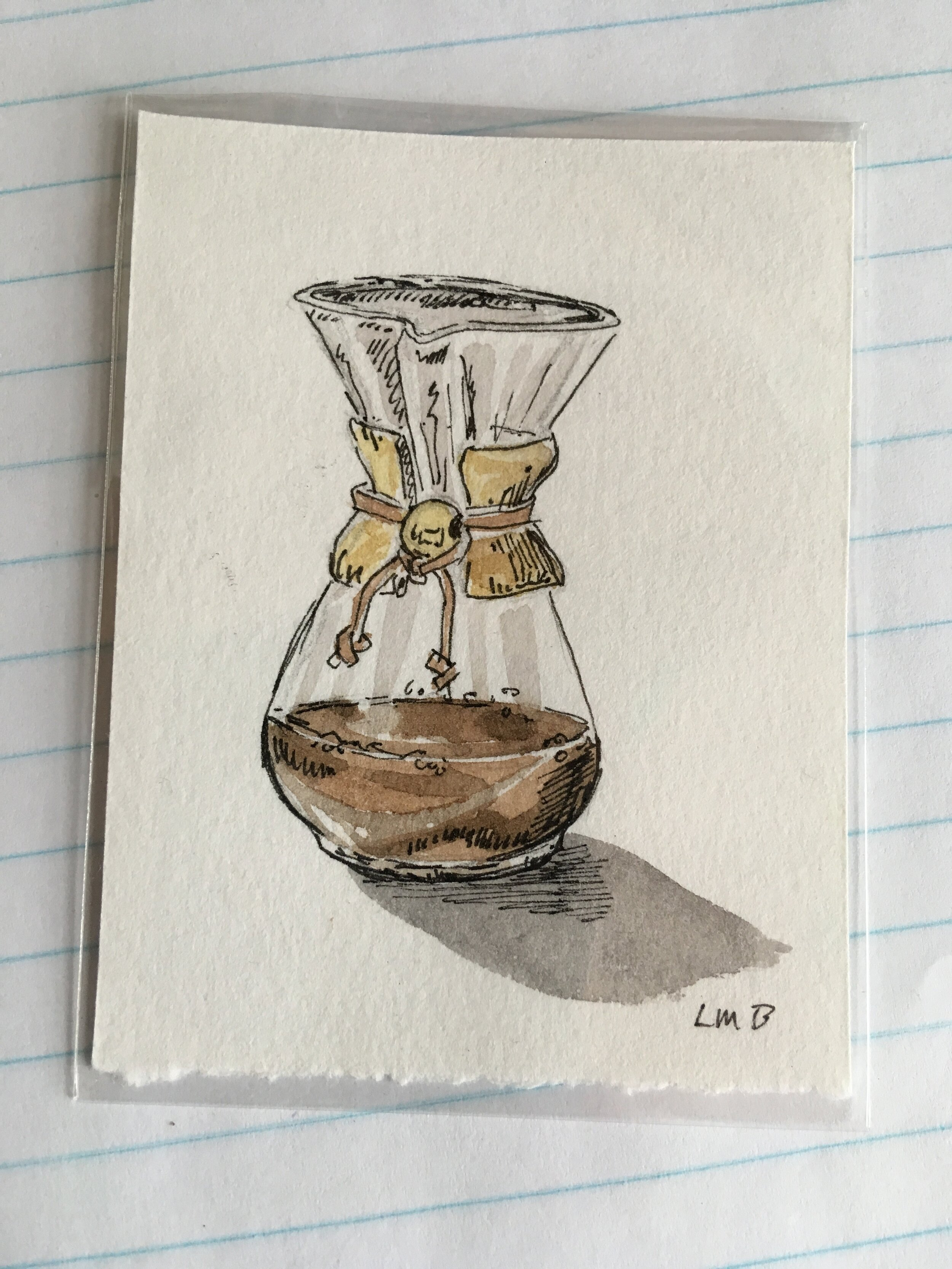 """Chemex, watercolor and ink on scrap paper, about 3""""x2.5""""."""