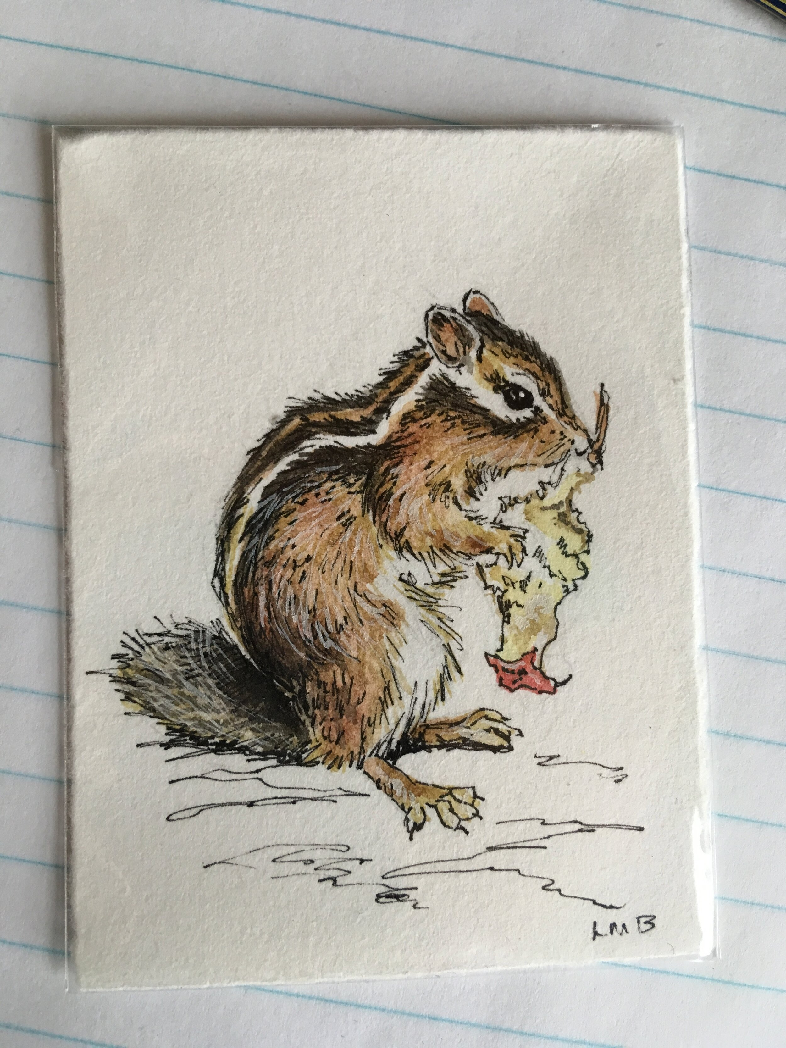 """chippy, watercolor and ink on scrap paper, about 3""""x2.5""""."""