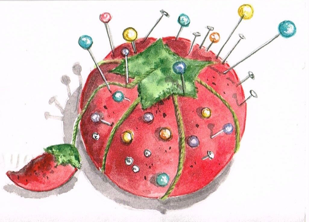 """Pin cushion, watercolor on scrap paper, about 3""""x4""""."""