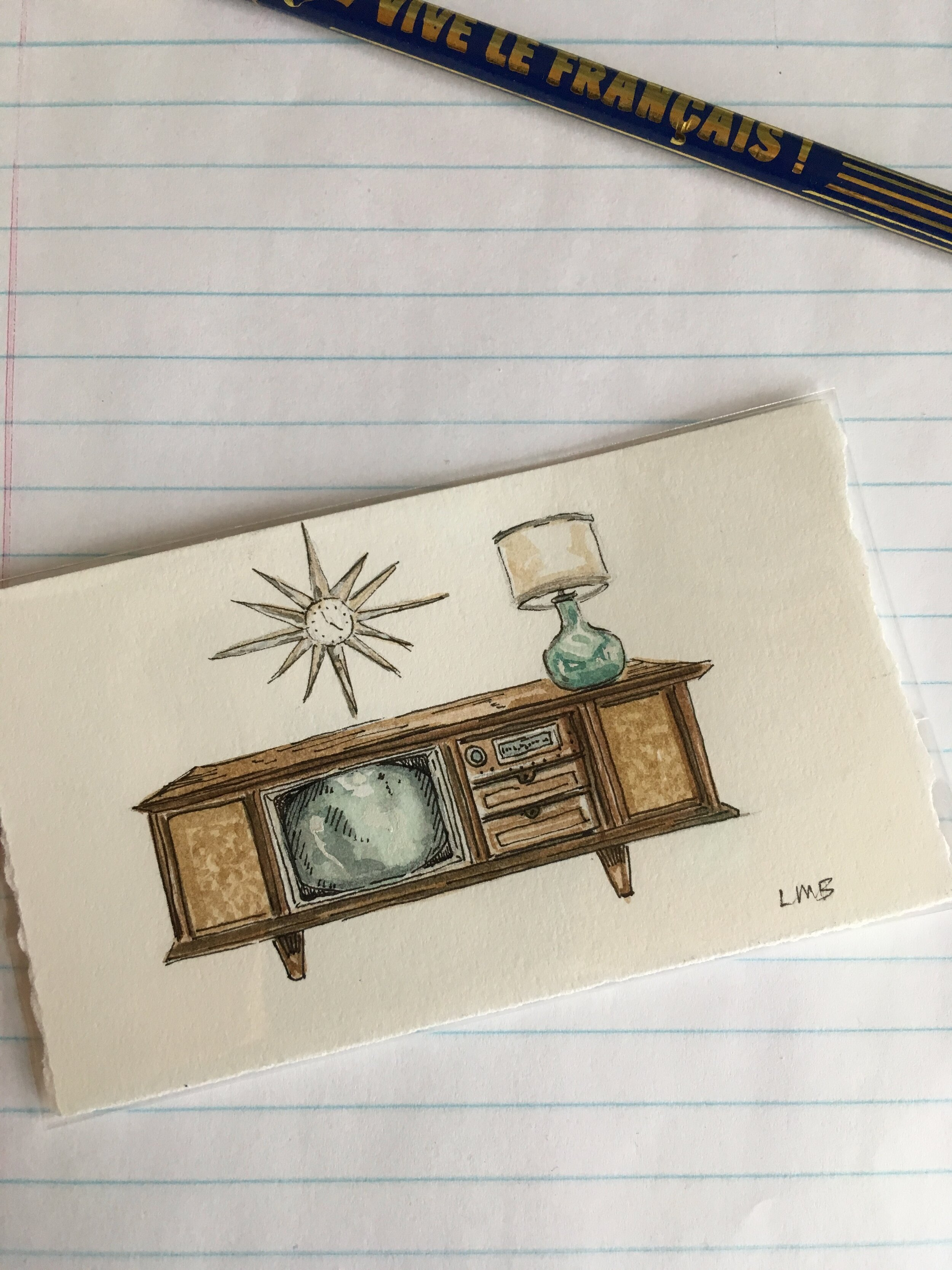 """mid century modern, watercolor and ink on scrap paper, about 2.5""""x4""""."""