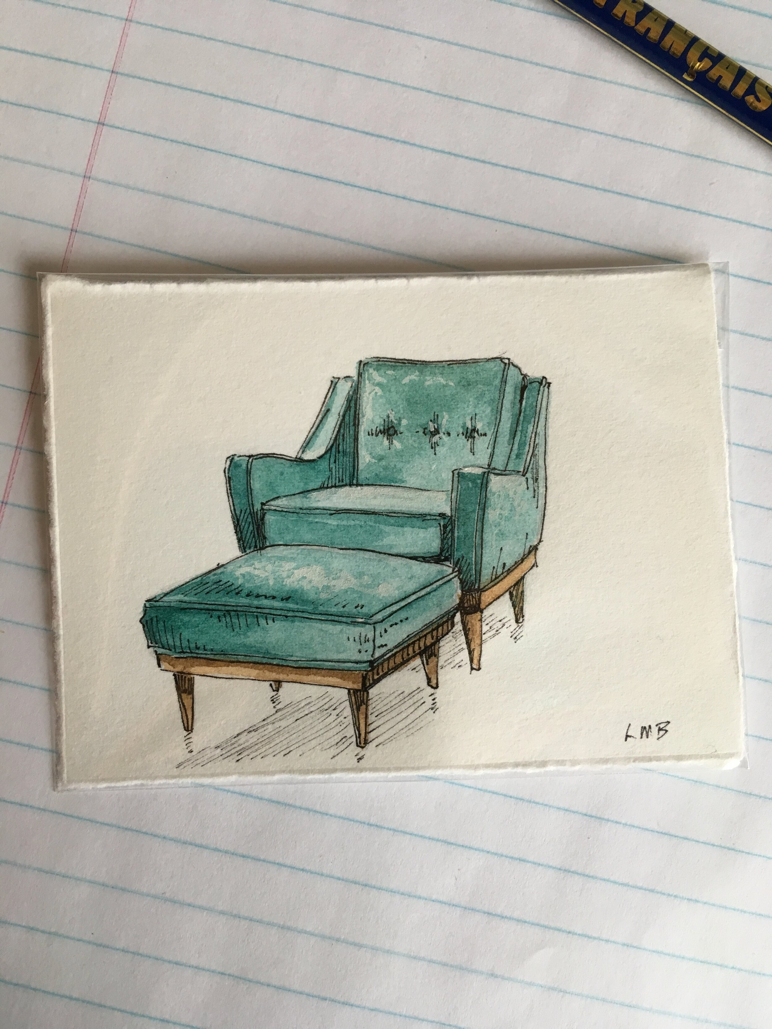 """mid century modern comfort, watercolor and ink on scrap paper, about 2.5""""x 3""""."""
