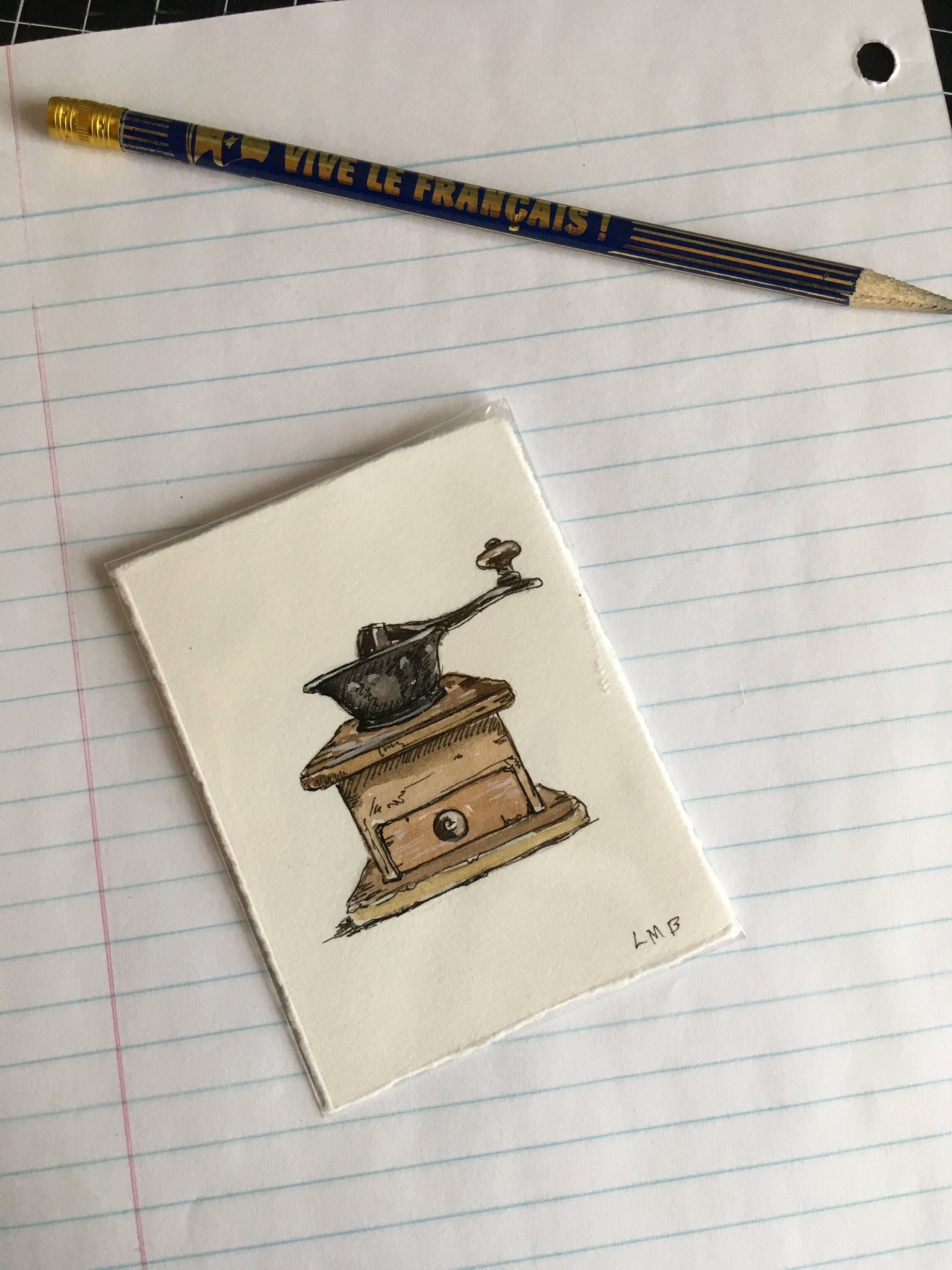 """Old time coffee grinder, about 3""""x2.5"""", watercolor and ink on paper."""