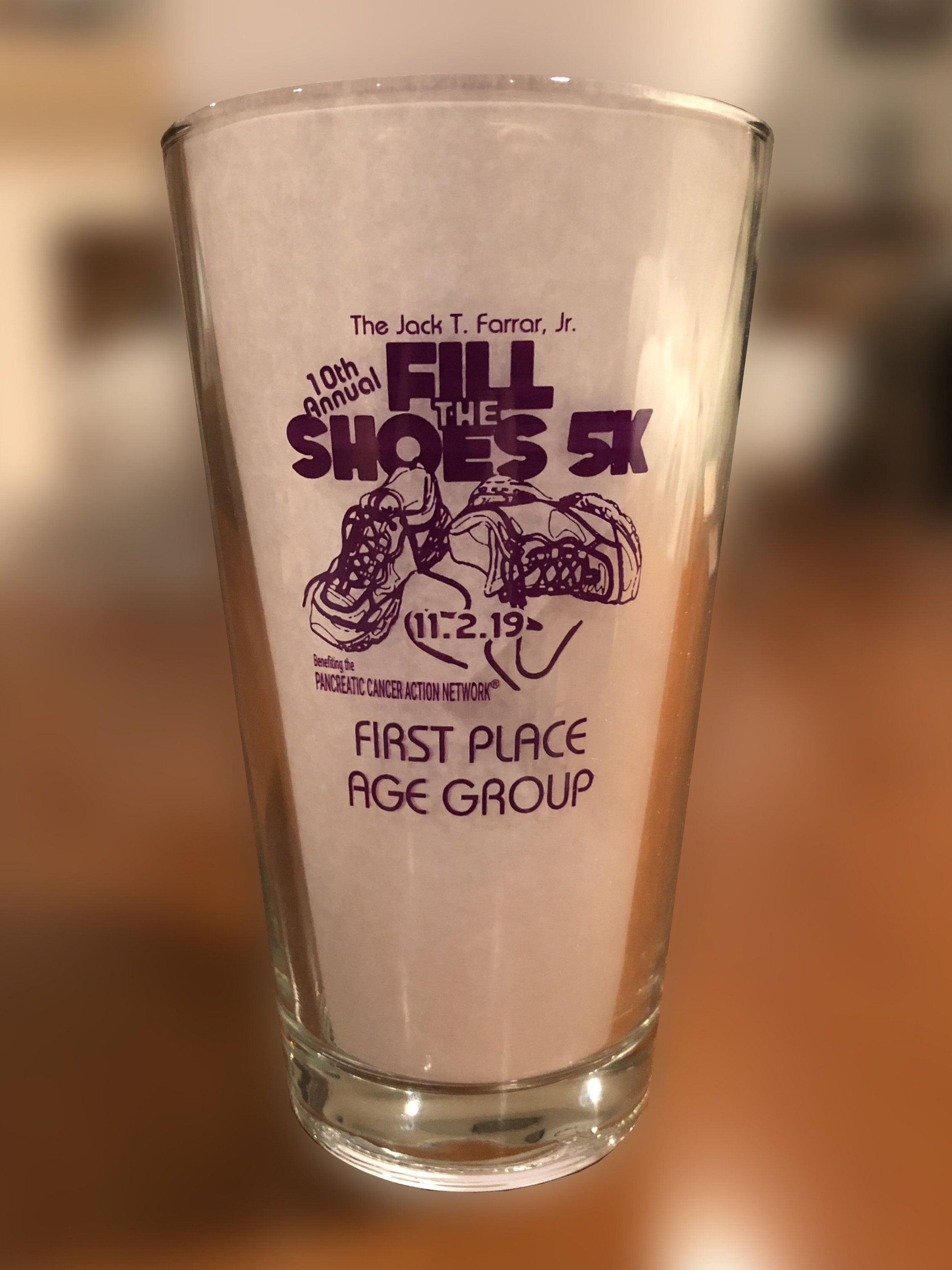 The pint glass awards go to top 3 male and female finishers in 5-year age groups.