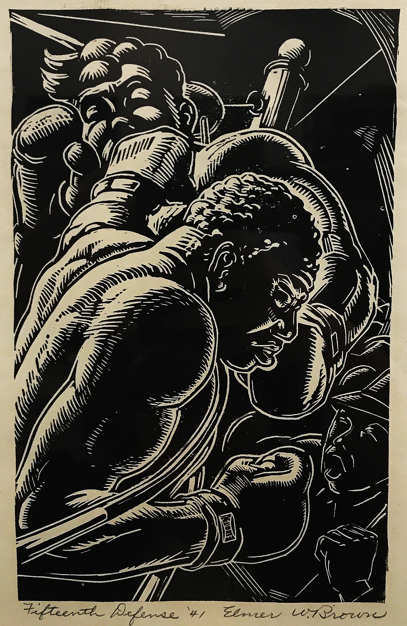Elmer W. Brown. (1909-1971)   Fifteen Defenses , Linocut, 9 1/2 x 6inches, 1941