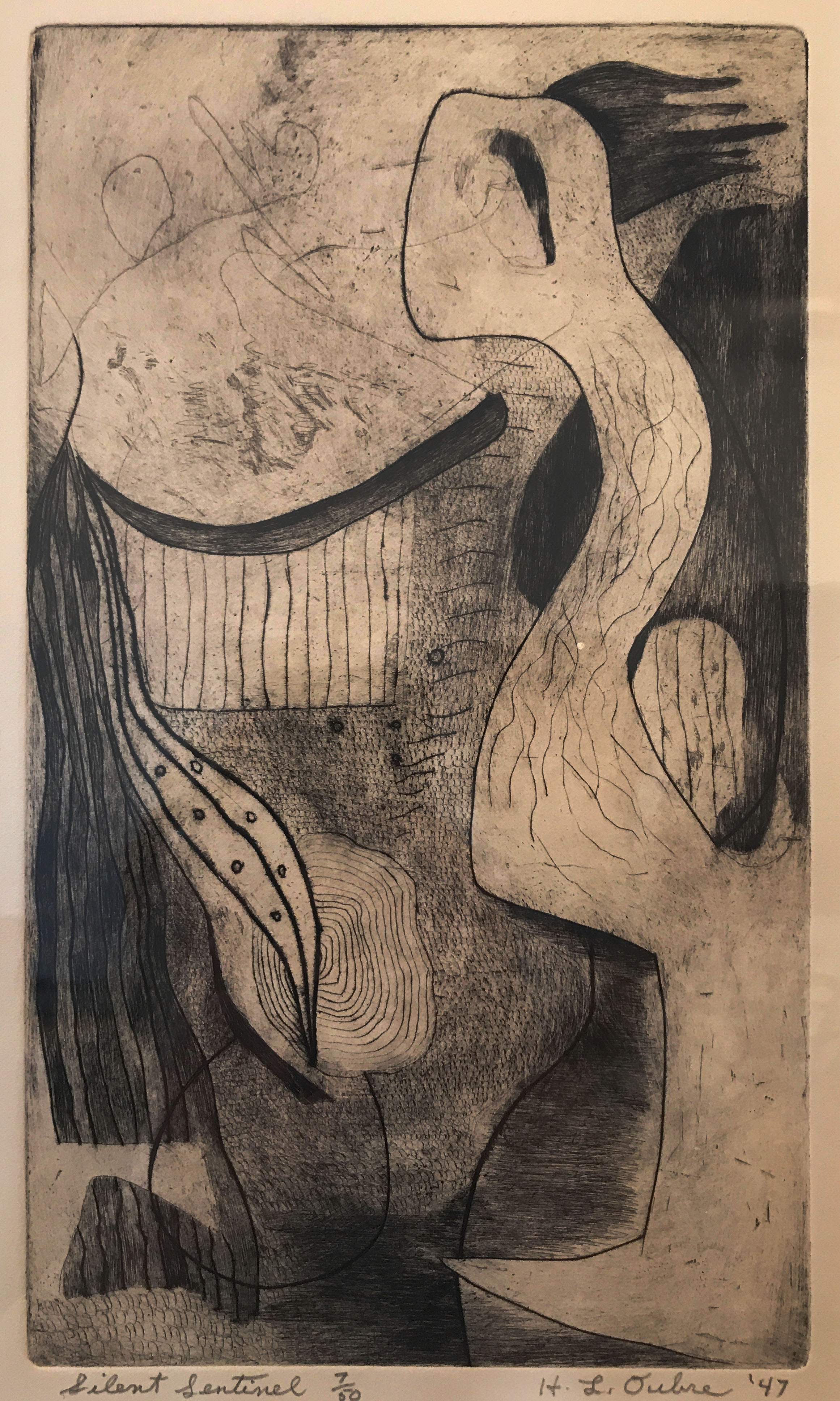 Hayward Oubre. (1916-2006)   Silent Sentinel , Etching, 18x12 inches, 1947