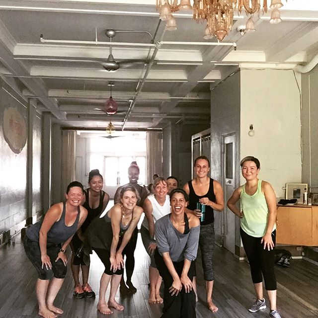The glowing group of #move ladies!! Dance party every Tuesday 11:30am at #premayogabrooklyn 💃🌈 Come play!! 🕺🏾🕺🏾🕺🏾 #dancefusion #dancecardio  #democracyofmovement  #yogadance #dance #classpass