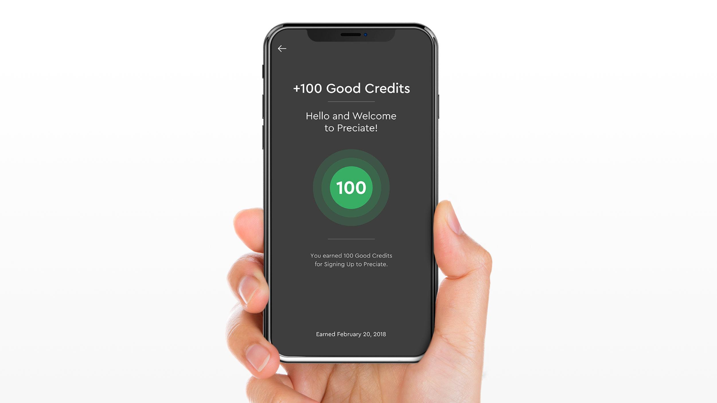 Good Credits Gained in the Preciate App