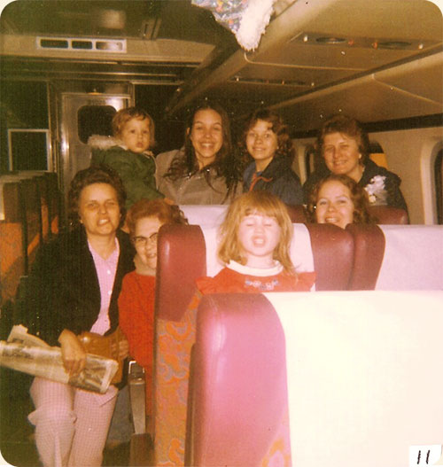 February 1978 (Brice Wedding)/ Newport News, VA  L-R back row Dwayne & Elizabeth B. Wicker Anna M. & Sandra P. Walter, front Naomi W. Brice, Ruth J. Walter, Sarah A. Walter, Lea W. Gregory on Amtrak train before it left for Alexandria, VA