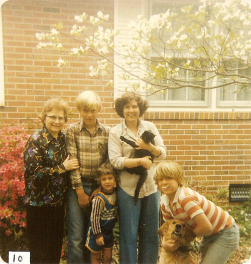 Spring 1979 / Elizabeth City, N.C.  L-R Ruth J. Walter, Michael Earle, Carole W. Earle, kids Kevin and Jeffery Earle & Cristy the dog