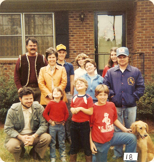 1982 / Apex, N.C.  L-R rear John Earle, Jr, Michael Earle, Anna M. Walter, Rose Mary Walter, middle Carole W. Earle, Sandra P. Walter, James Walter, front Richard Walter, Sarah A. Walter, Kevin Earle, Jeffrey Earle
