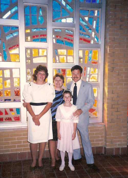 1985 / Dayton, OH   Church wedding of Kimberly Anne Batner (now Ross). L-R Anna M., Sandra L.P., Sarah A., and Richard J. Walter