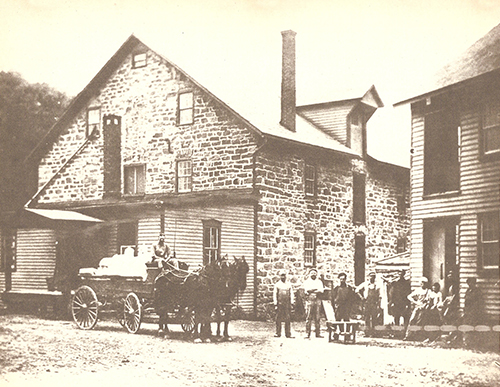 1800s / Walter's Lower Mill, Walters, Easton, Northampton Co. {Forks Twsp.}, PA.  Originally built c.1763 and later destroyed by fire. Rebuilt by Jacob Walter. Passed to son John T. Walter and sold by him in 1903. Said to have been demolished 1968-1978 to improve water flow on Bushkill Creek.