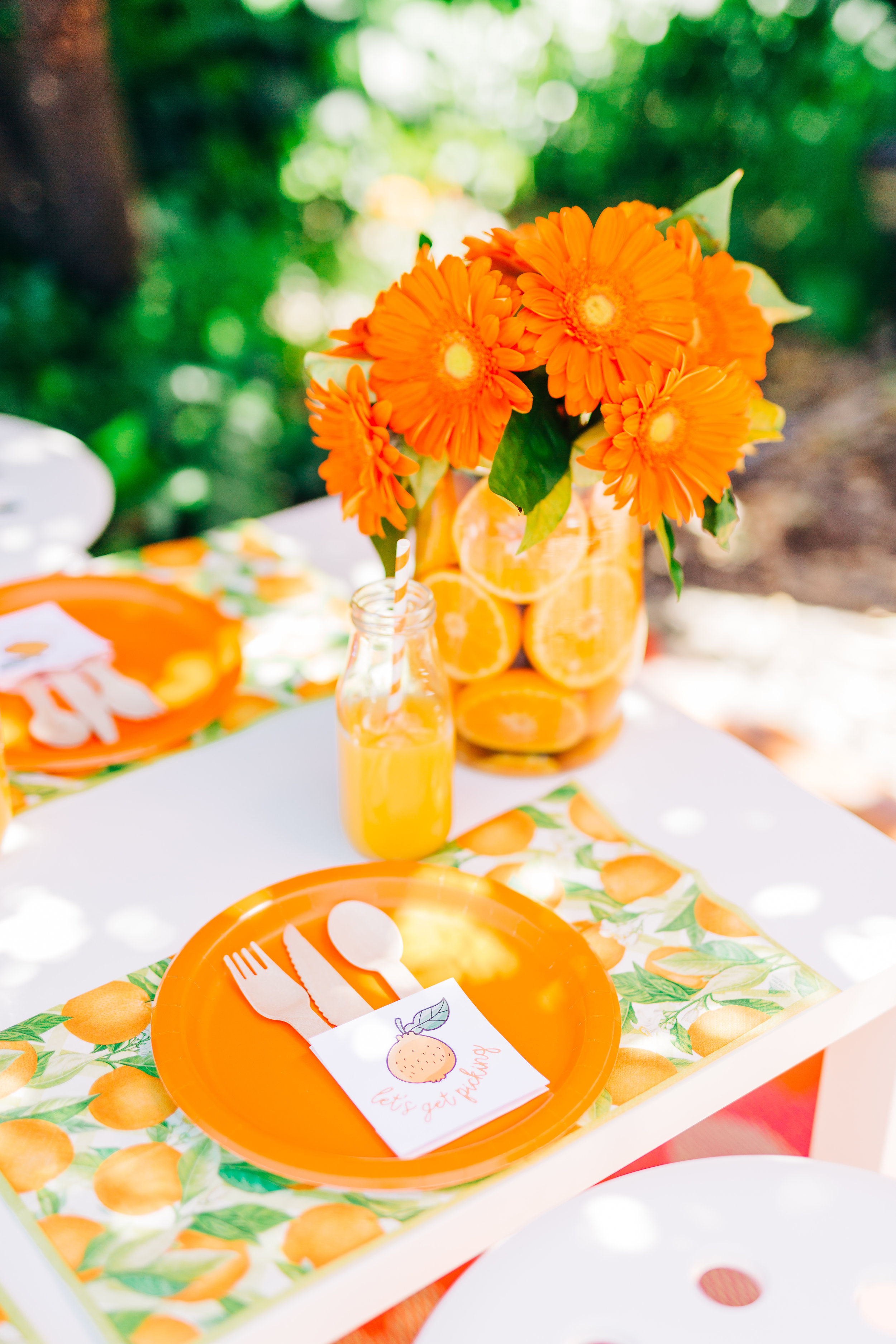 Orange picking party table setting. Citrus birthday party 9.jpg