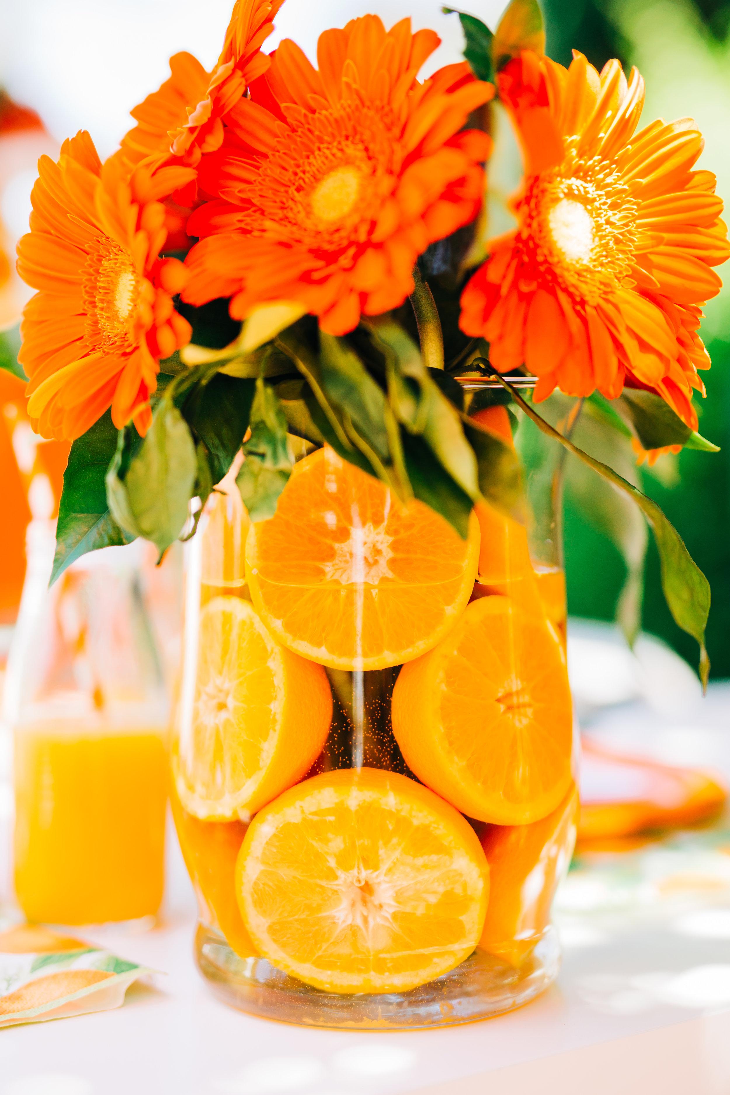 Diy Orange Floral Arrangements Fun And Confetti