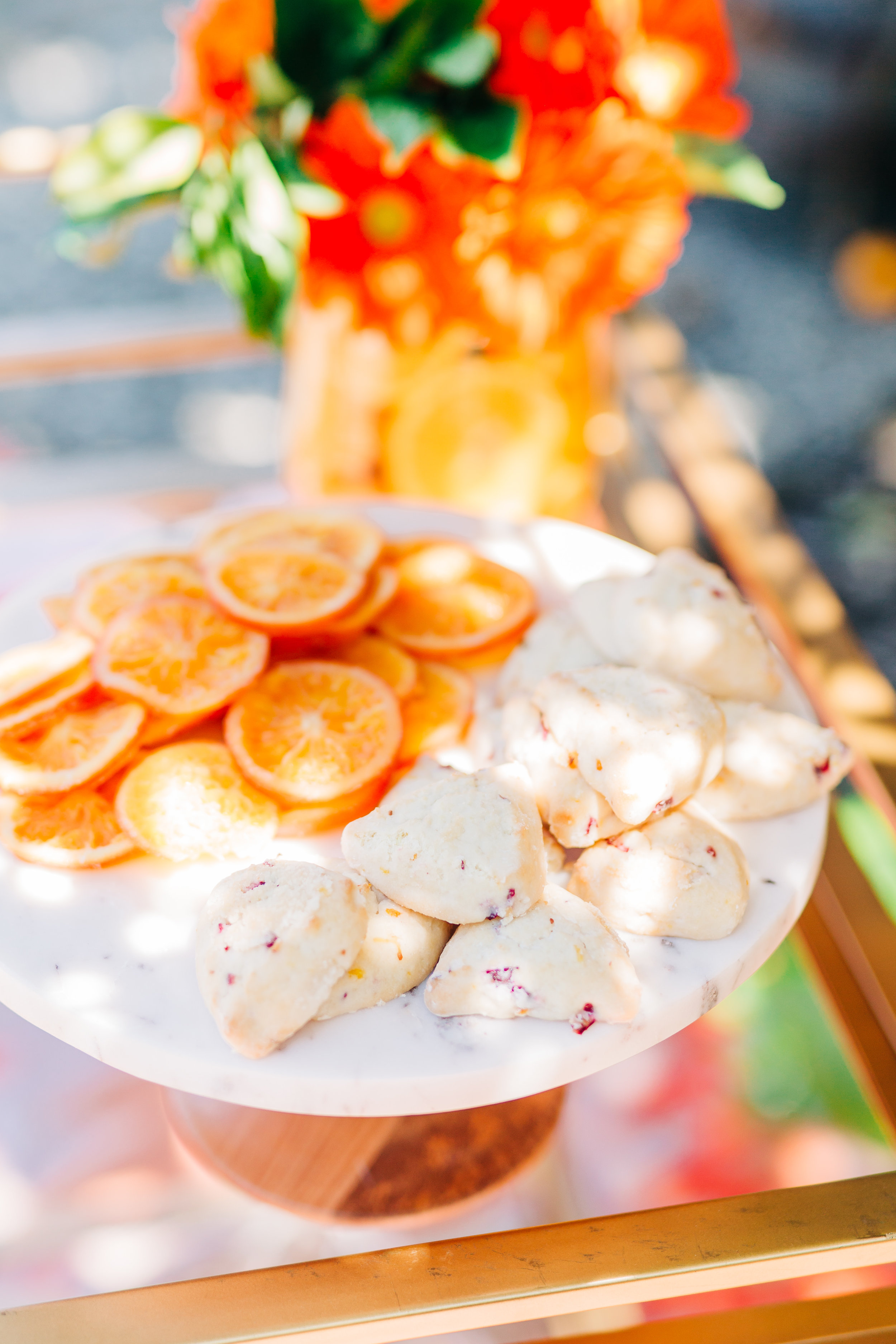 Bar cart decorations for orange picking party. Candied oranges and orange scones8.jpg