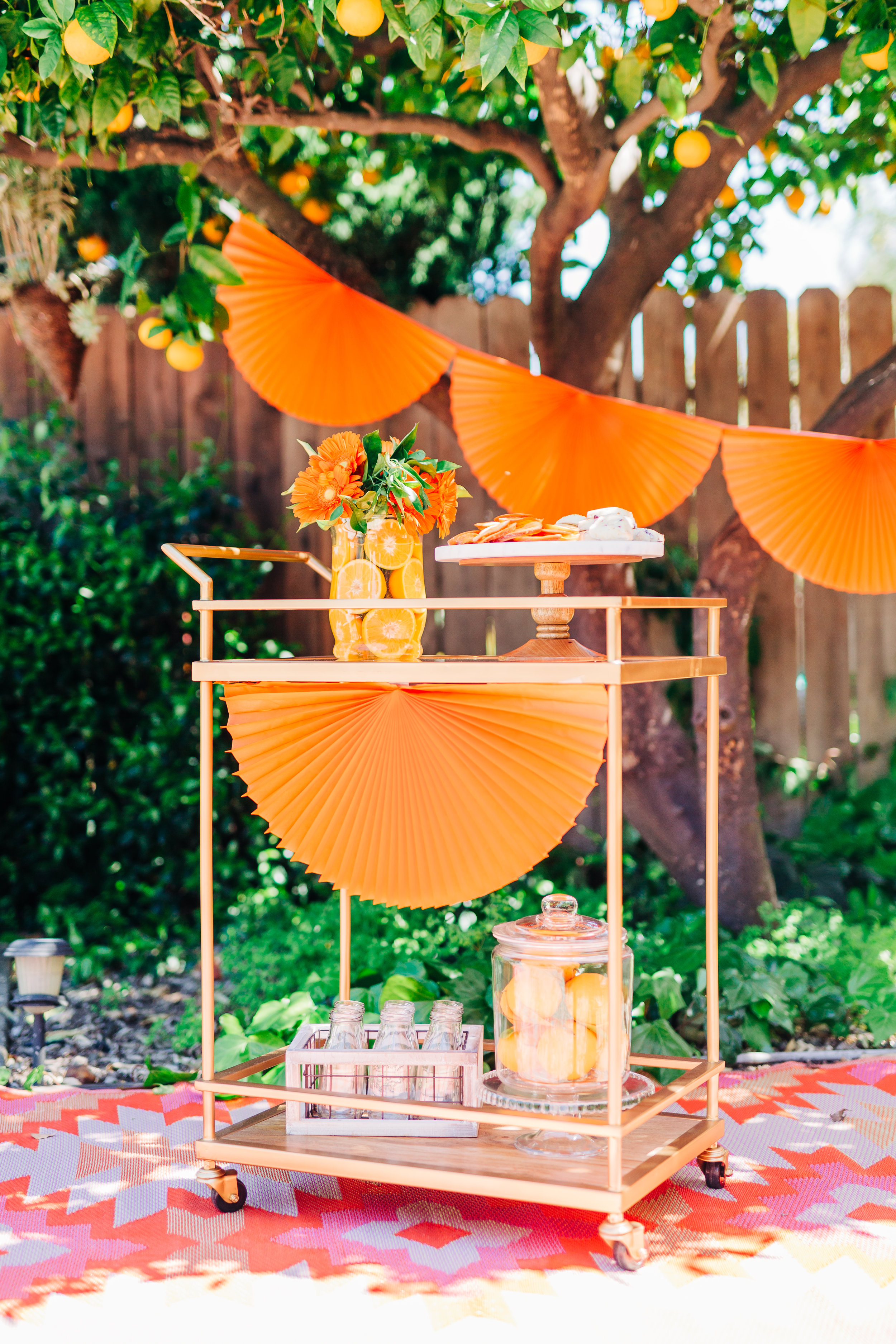 Bar cart decorations for orange picking party. Candied oranges and orange scones4.jpg