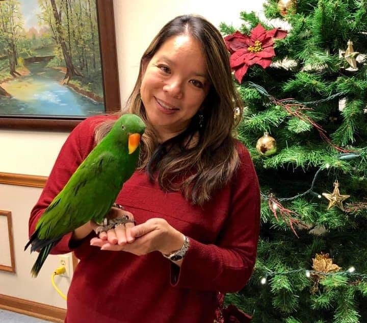 holiday party 2018 Diana S w parrots.jpg