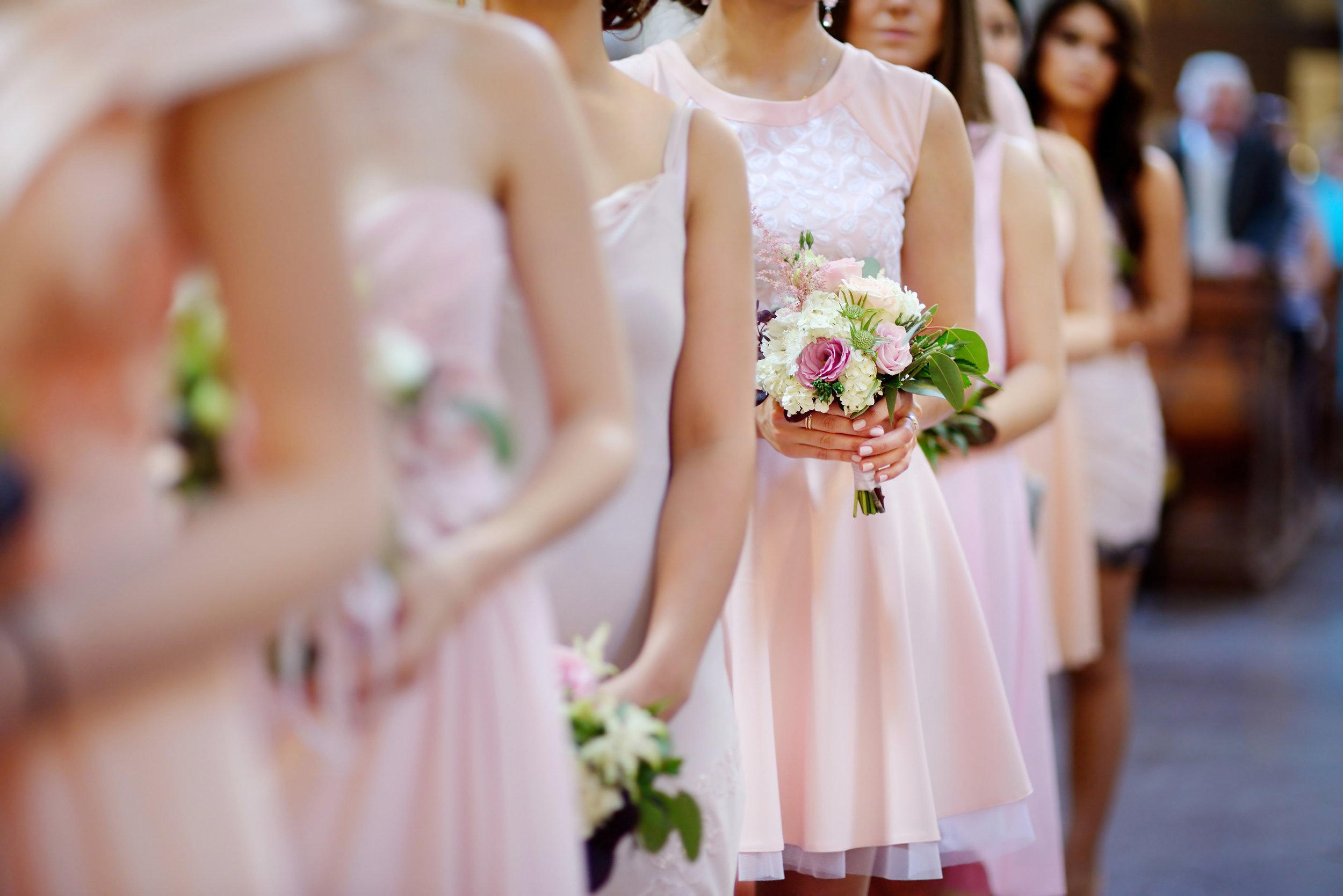Maid of honor in wedding procession
