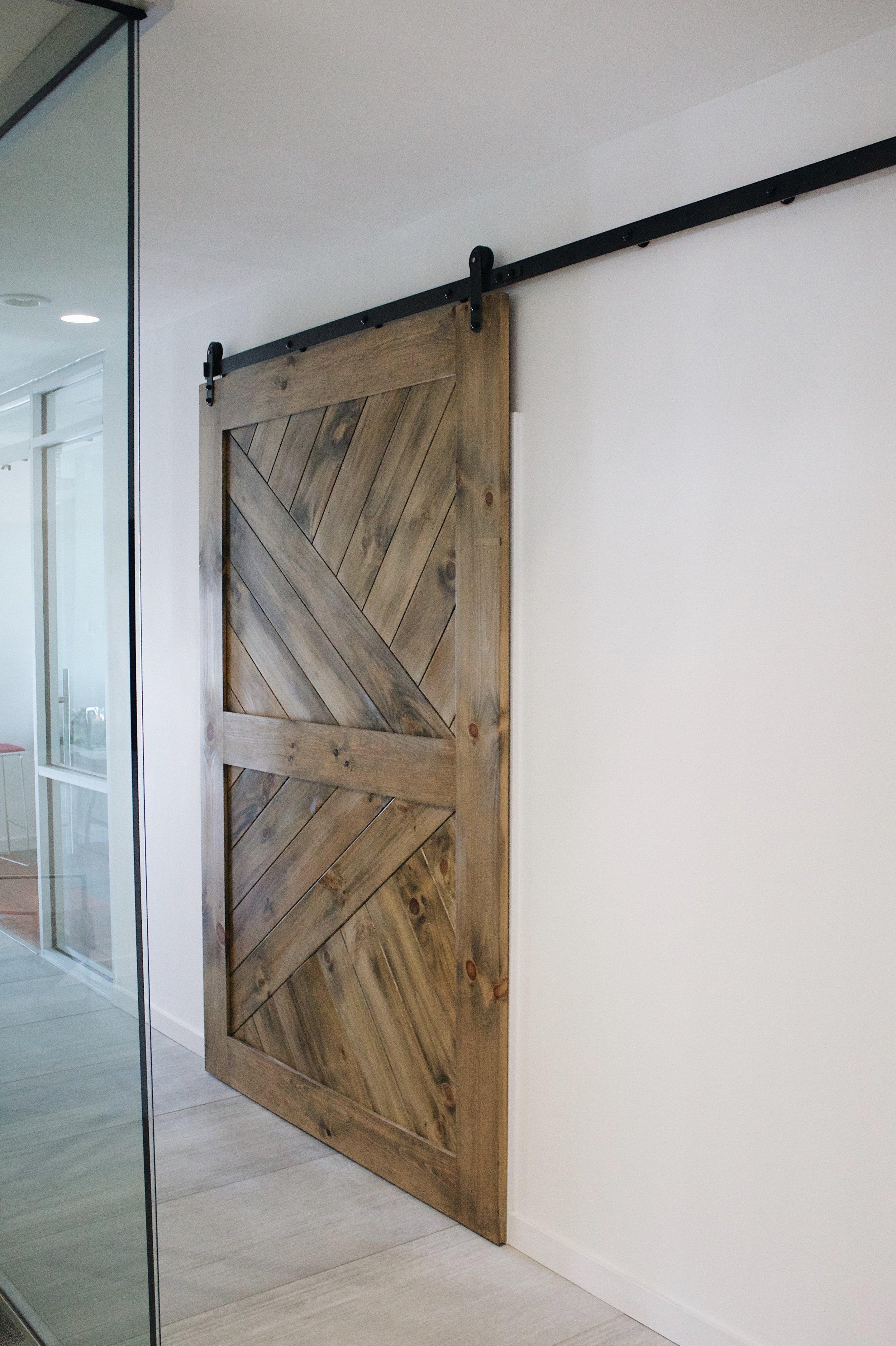 Stained Pine Rolling Door