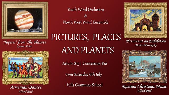 """Mussorgsky's iconic """"Pictures at an Exhibition"""" features two of the most recognisable musical ornaments in classical literature - from the opening trumpet solo to the rousing """"Great Gate of Kiev"""" to close the suite, Lavender's wind band transcription is as true to Mussorgsky's original orchestral score as you will find. At this event you will hear Australia's back-to-back national A Grade champions, the Castle Hill RSL North West Wind Ensemble perform this epic work in all its grandeur.  Gustav Holst's """"Jupiter - the bringer of Jollity"""" from the well known Planets suite will also be a feature of the programme, as performed by the Castle Hill RSL Youth Wind Orchestra.  Rounded out by other works such as Alfred Reed's Armenian Dances and Russian Christmas Music, you can be assured of fewer more entertaining ways to spend a Saturday evening in July.  Tickets just $15 for adults and $10 for concession available at the door."""
